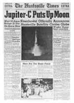 huntsville times headline about jupiter c circleing the globe