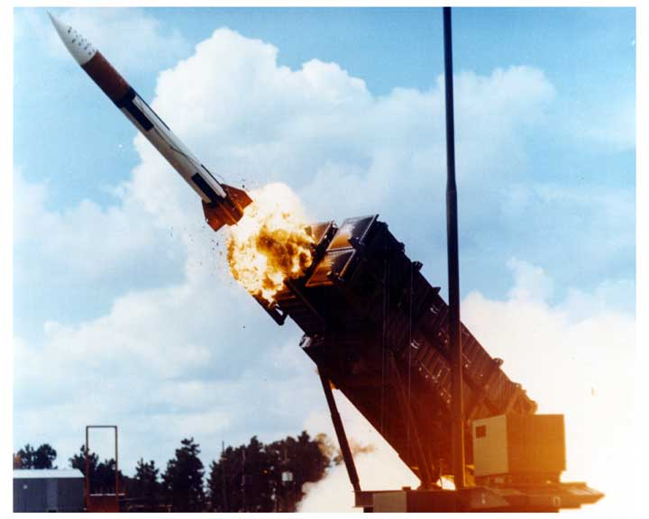 Photo of PATRIOT missile being fired from launcher.