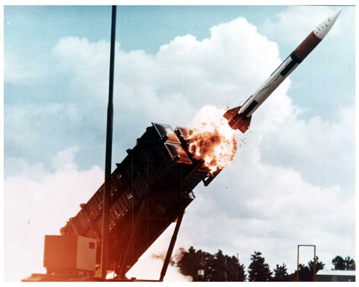 Photo of PATRIOT missile being fired, photo captured as missile leaves the launcher.