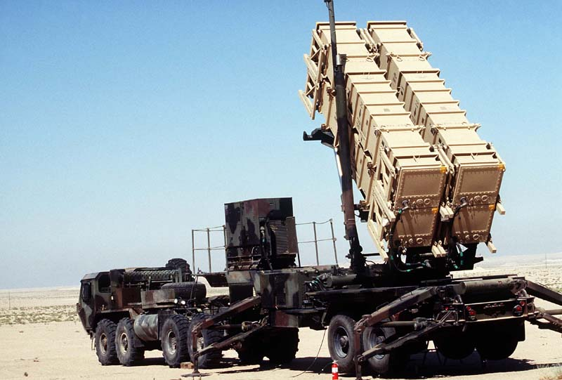 Photo of PATRIOT missile system transport truck and launcher.