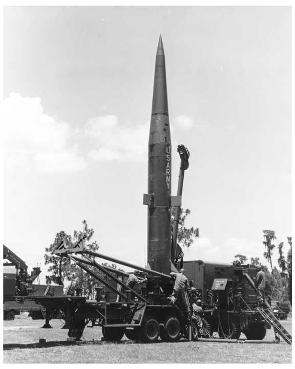 Photo of Pershing missile in launch configuration.