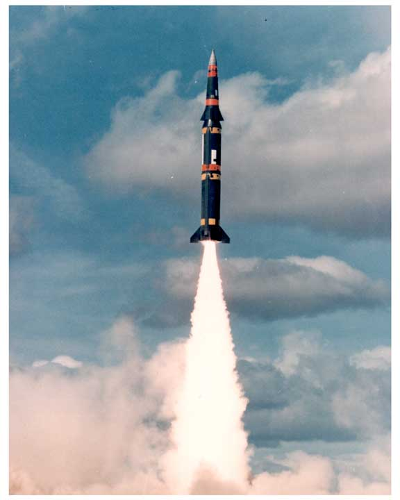 Photo of Pershing missile being launched.